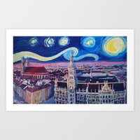 Starry Night In Munich   Van Gogh Inspirations with Church of Our Lady and City Hall Art Print