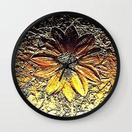 Golden glitter rust daisy flower metallic look Wall Clock