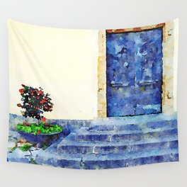 Agropoli: steps, bronze door and vase with red roses Wall Tapestry