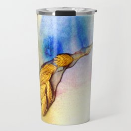 Sea Oats | Outer Banks 1 Mixed Media Botanical Ocean Watercolor Abstract in Blue and Green Travel Mug