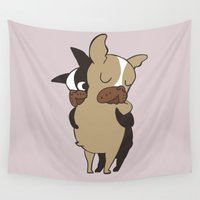 frenchie Wall Tapestries featuring Frenchie Hugs by Huebucket