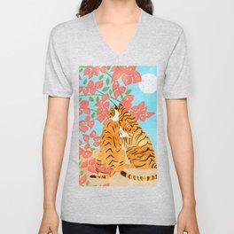 Tiger Honeymoon Illustration, Wildlife Floral Botanical Painting, Full Moon Cats Bougainvillea Unisex V-Neck