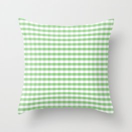Color of the Year Large Greenery and White Gingham Check Plaid Throw Pillow