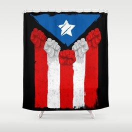 Raised Fists For Puerto Rico - Boricua Flag Shower Curtain