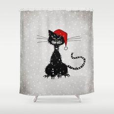 Evil Christmas Cat Shower Curtain
