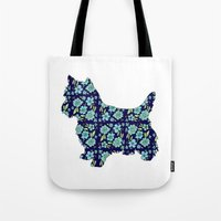 yorkie Tote Bags featuring Blue Yorkie by blushandhoneypaper