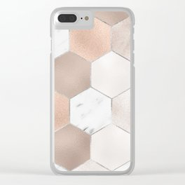 Rose pearl and marble hexagons Clear iPhone Case