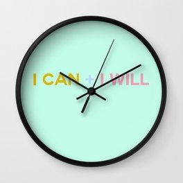 I CAN + I WILL seafoam Wall Clock