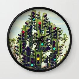 Traffic light tree in Canary Wharf, London - Fine Art Travel Art Photography Wall Clock