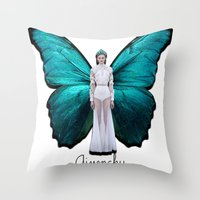 givenchy Throw Pillows featuring Papilio Givenchy Unframed by GirlAnnachronism