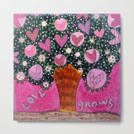 Love Grows  - Pink Tree Metal Print