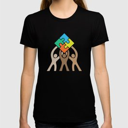 Teamwork and Unity Jigsaw Puzzle Logo T-shirt