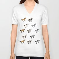 horses V-neck T-shirts featuring Horses by mleko