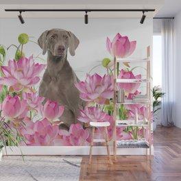 Weimaraner Lotos Flowers Wall Mural
