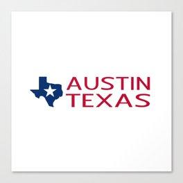 Texas: Austin (State Shape & Star) Canvas Print