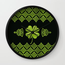 Irish Shamrock Four-leaf clover with celtic decor Wall Clock