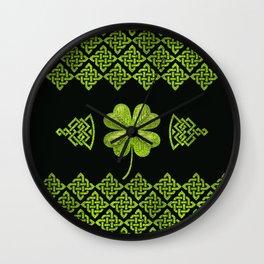 Irish Shamrock Four-leaf clover with celtic decor Wall Clock