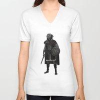 gladiator V-neck T-shirts featuring Neapolitan Mastiff Gladiator  by Barruf