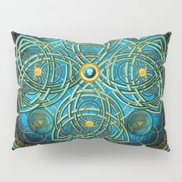 Celtic Cross Tapestry in Gold and Teal Pillow Sham