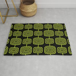 Mid Century Modern Atomic Rings Pattern Black and Chartreuse Rug