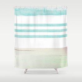 nautical stripes: aqua & sand Shower Curtain