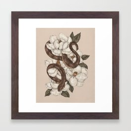 Snake and Magnolias Framed Art Print