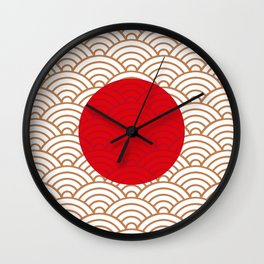 Ornamented Japanese Flag Wall Clock
