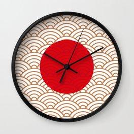 Ornamented Japanese Flag Wall Clock