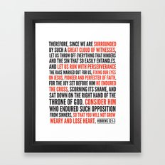 Hebrews 12:1-3 Great Cloud of Witnesses Framed Art Print