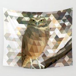 Burrowing Owl - Low Poly Technique Wall Tapestry