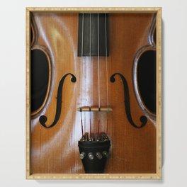 Close-up of Beautiful Violin Black Background #decor #society6 #buyart Serving Tray