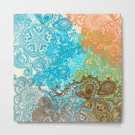 Indian boho pattern with ornament in blue, ornage and green Metal Print