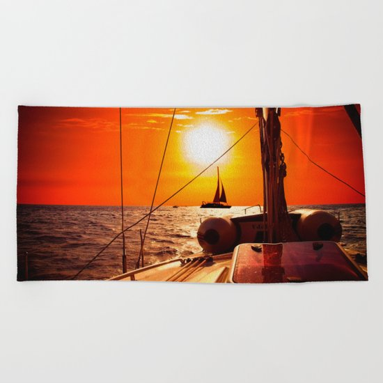 Yacht at Sunset Beach Towel