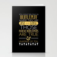 hufflepuff Stationery Cards featuring Hufflepuff by Dorothy Leigh