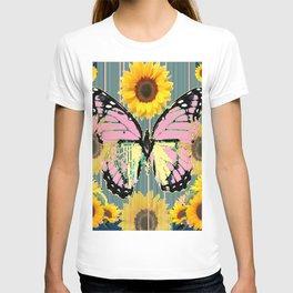 ABSTRACT PINK BUTTERFLY TEAL GARDEN SUNFLOWER T-shirt