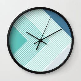 Teal Vibes - Geometric Triangle Stripes Wall Clock