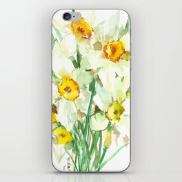 Daffodil Flowers, White spring flowers, Green yellow spring colored design iPhone Skin