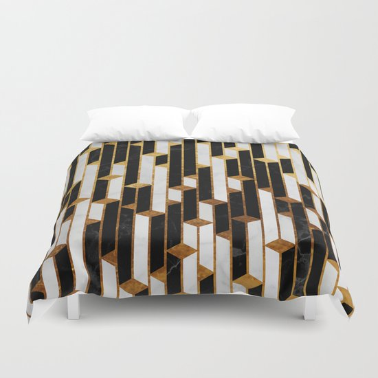 marble skyscrapers black white and gold duvet cover by santo sagese society6. Black Bedroom Furniture Sets. Home Design Ideas