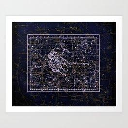 Gemini, Constellation map, Zodiac, Sign sky, Stars, Universe, astrology, astrological, signs, birth Art Print