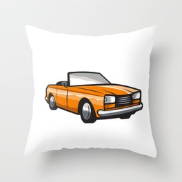 Vintage Cabriolet Top-Down Car Isolated Retro Throw Pillow