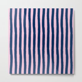 Blue and Pink Palm Beach Funky Cabana Stripes Metal Print