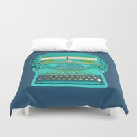 number Duvet Covers featuring Typewriter Number Five by bluebutton studio