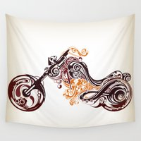 motorcycle Wall Tapestries featuring Abstract Motorcycle by Paper Fox Design Studio