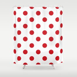 Polka Dots - Fire Engine Red on White Shower Curtain