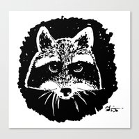 racoon Canvas Prints featuring Racoon by leart