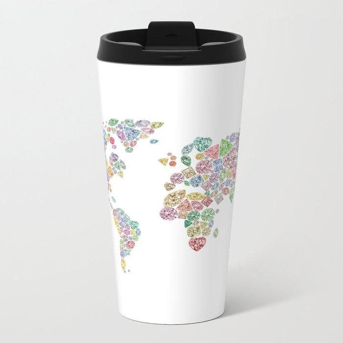 Diamonds World Map #3 Metal Travel Mug