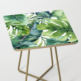 Tropical Jungle Leaves Side Table