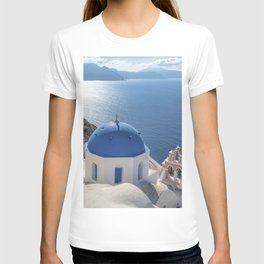 Santorini Island with churches and sea view in Greece T-shirt