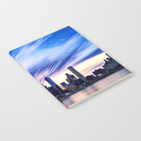 Romantic City Cityscape with Light Sunset and River Notebook