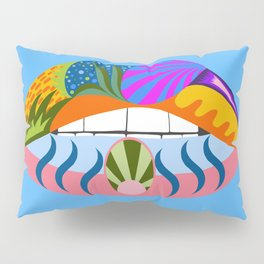 Lips with bold abstract patterns, blue retro pop art illustration Pillow Sham